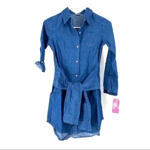 Wallflower Girls' Denim Shirt Dress w/ Sleeve Belt